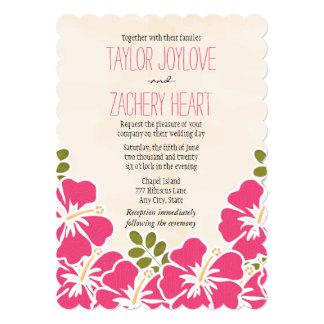 Invitaciones hawaianas del boda del hibisco fucsia invitación 12,7 x 17,8 cm