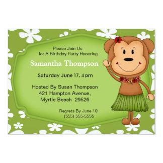 Invitaciones hawaianas del cumpleaños del mono invitación 12,7 x 17,8 cm