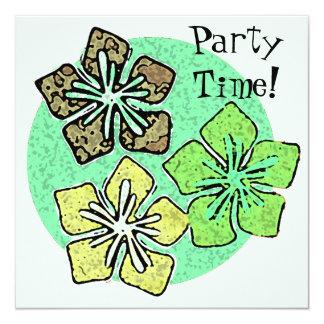 Invitaciones hawaianas del fiesta de las flores invitación 13,3 cm x 13,3cm