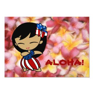 Invitaciones hawaianas del Plumeria de las mieles Invitación 12,7 X 17,8 Cm