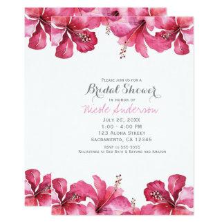 Invitaciones hawaianas florales del hibisco rosado invitación 12,7 x 17,8 cm