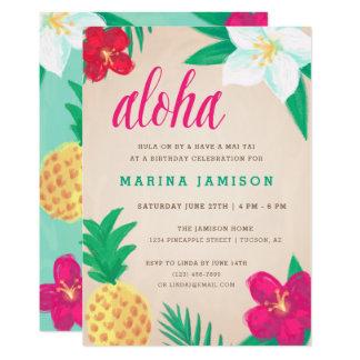 Invitaciones hawaianas tropicales del fiesta de invitación 12,7 x 17,8 cm