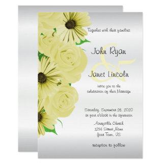 Invitaciones hermosas del boda del rosa amarillo y invitación 12,7 x 17,8 cm