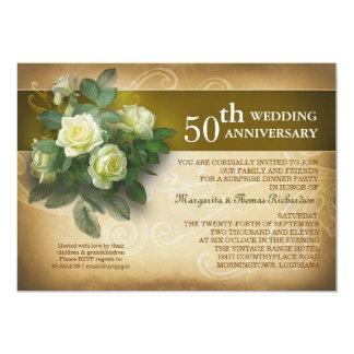 invitaciones hermosas del vintage del aniversario invitación 12,7 x 17,8 cm
