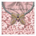 Invitaciones Jeweled de la fiesta de cumpleaños de Comunicado Personalizado