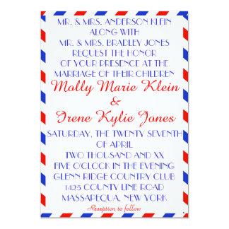 Invitaciones lesbianas azules y rojas del boda del invitación 12,7 x 17,8 cm