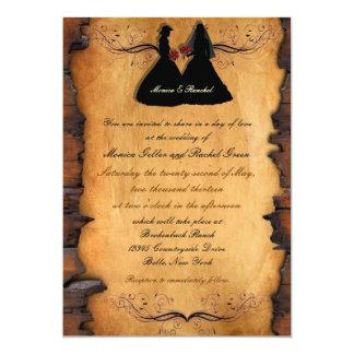 Invitaciones lesbianas de encargo del boda de las invitación 12,7 x 17,8 cm