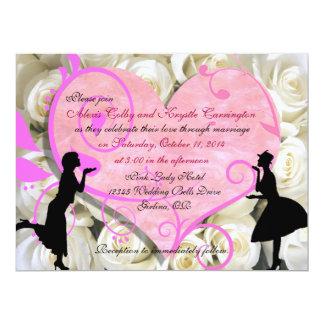 Invitaciones lesbianas de encargo del boda del invitación 16,5 x 22,2 cm