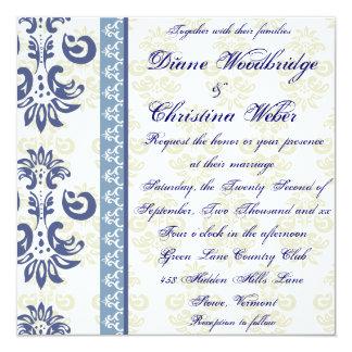 Invitaciones lesbianas del boda del damasco azul invitación 13,3 cm x 13,3cm