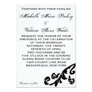 Invitaciones lesbianas del boda del Flourish negro Invitación 12,7 X 17,8 Cm