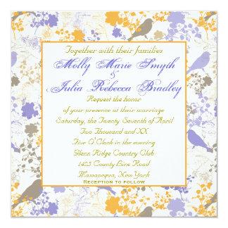 Invitaciones lesbianas florales amarillas y invitación 13,3 cm x 13,3cm