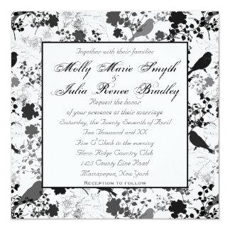 Invitaciones lesbianas florales blancas y negras invitación 13,3 cm x 13,3cm