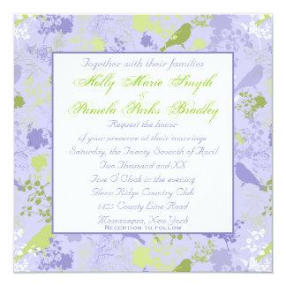 Invitaciones lesbianas florales púrpuras y verdes invitación 13,3 cm x 13,3cm