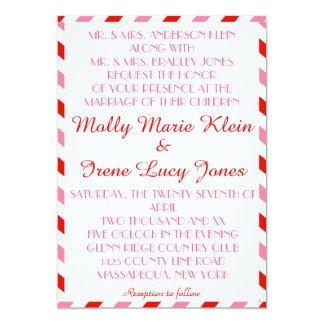 Invitaciones lesbianas rojas y rosadas del boda invitación 12,7 x 17,8 cm