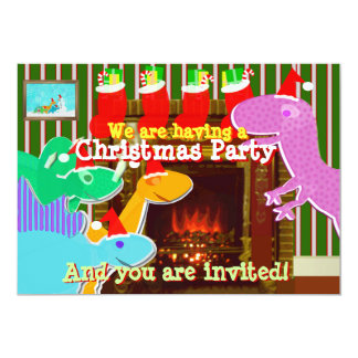 Invitaciones lindas de los dinosaurios del dibujo invitación 12,7 x 17,8 cm