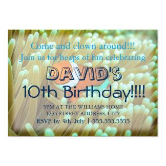 Invitaciones lindas del cumpleaños de Clownfish Invitación 12,7 X 17,8 Cm