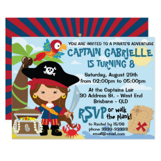 Invitaciones lindas del cumpleaños del pirata del