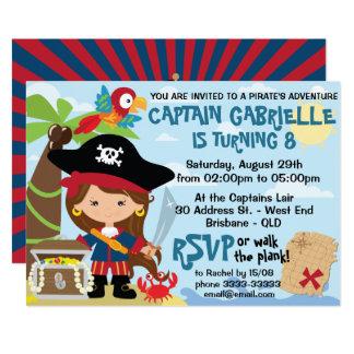 Invitaciones lindas del cumpleaños del pirata del invitación 12,7 x 17,8 cm