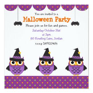 Invitaciones lindas del fiesta de los búhos de invitación 13,3 cm x 13,3cm