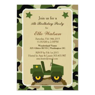 Invitaciones militares de la fiesta de cumpleaños invitación 12,7 x 17,8 cm