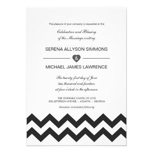 Invitaciones modernas blancos y negros del boda de anuncios