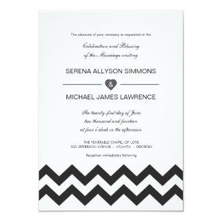 Invitaciones modernas blancos y negros del boda de invitación 11,4 x 15,8 cm
