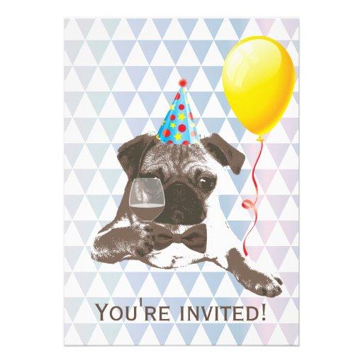 Invitaciones modernas de la fiesta de cumpleaños d comunicados personalizados