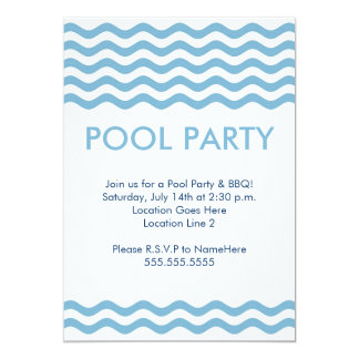 Invitaciones modernas de la fiesta en la piscina invitación
