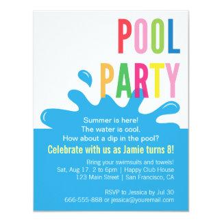 Invitaciones modernas de la fiesta en la piscina comunicado