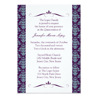 Invitaciones modernas de Quinceanera del damasco Invitación 12,7 X 17,8 Cm