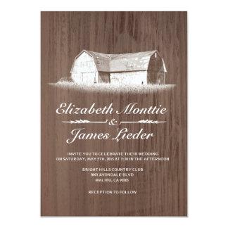 Invitaciones modernas del boda de la granja invitación 12,7 x 17,8 cm