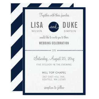 Invitaciones modernas del boda de los azules invitación 12,7 x 17,8 cm