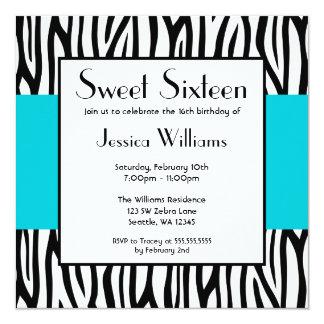 Invitaciones modernas del dulce 16 de la cebra invitación 13,3 cm x 13,3cm