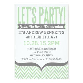 Invitaciones modernas grises del cumpleaños de la invitación 12,7 x 17,8 cm