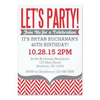 Invitaciones modernas grises rojas del cumpleaños invitación 12,7 x 17,8 cm