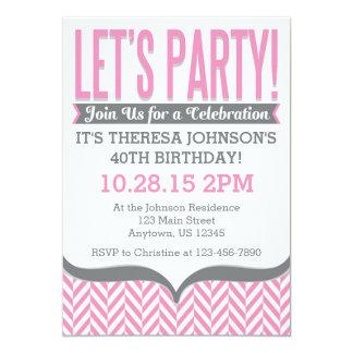 Invitaciones modernas grises rosadas del invitación 12,7 x 17,8 cm