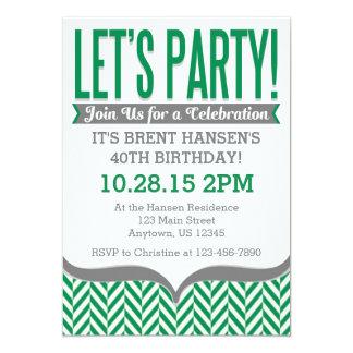 Invitaciones modernas grises verdes del cumpleaños invitación 12,7 x 17,8 cm