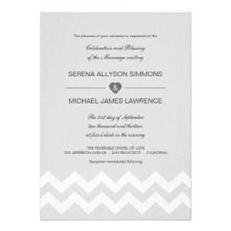 Invitaciones modernas grises y blancas del boda de invitacion personalizada