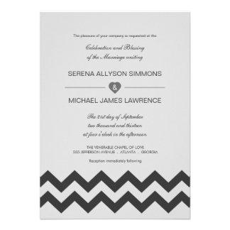 Invitaciones modernas grises y negras del boda de invitación personalizada