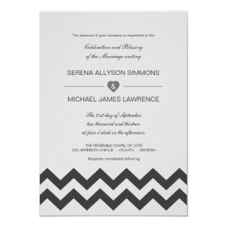 Invitaciones modernas grises y negras del boda de invitación 11,4 x 15,8 cm