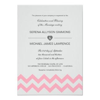 Invitaciones modernas grises y rosadas del boda de invitación 11,4 x 15,8 cm