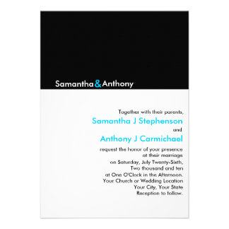 Invitaciones modernas minimalistas negras blancas