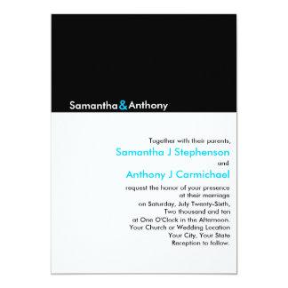 Invitaciones modernas minimalistas negras/blancas comunicado personalizado