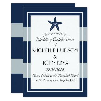 Invitaciones náuticas del boda de las estrellas de