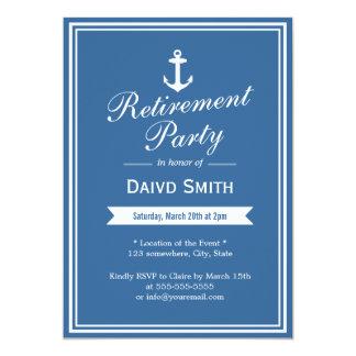 Invitaciones náuticas del fiesta de retiro de los invitación 12,7 x 17,8 cm