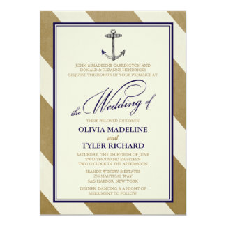Invitaciones náuticas elegantes del boda de la anuncios