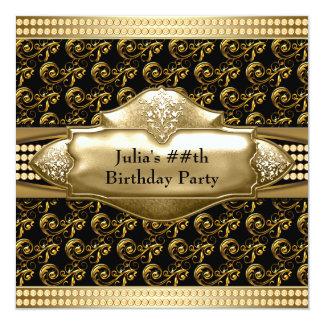 Invitaciones negras de la fiesta de cumpleaños del invitación 13,3 cm x 13,3cm