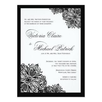 Invitaciones negras de lujo del boda de la invitación 13,9 x 19,0 cm