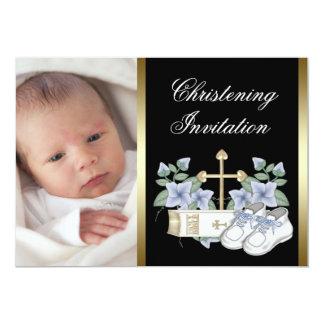 Invitaciones negras del bautizo de la foto del invitación 12,7 x 17,8 cm