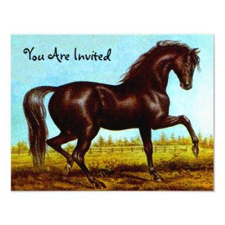 Invitaciones negras del fiesta del caballo de la invitación 10,8 x 13,9 cm
